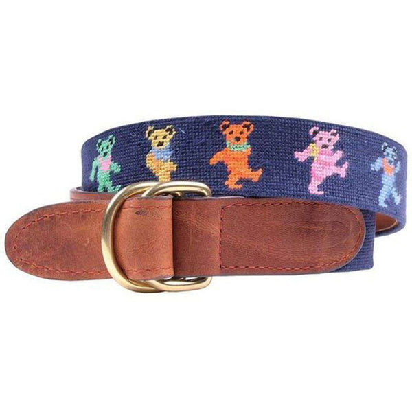 Dancing Bears Needlepoint D-Ring Belt in Dark Navy by Smathers & Branson