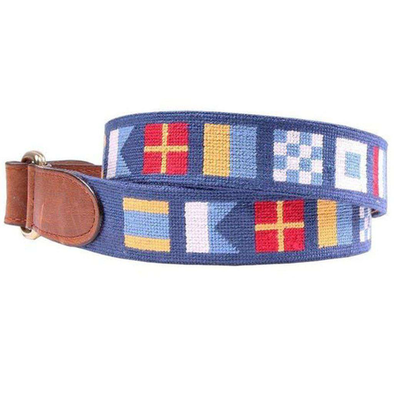 Dark n' Stormy Needlepoint D-Ring Belt in Classic Navy by Smathers & Branson