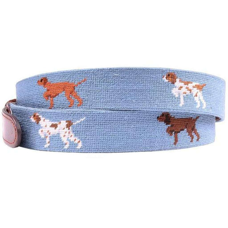Dogs on Point Needlepoint Belt in Steel Blue by Smathers & Branson