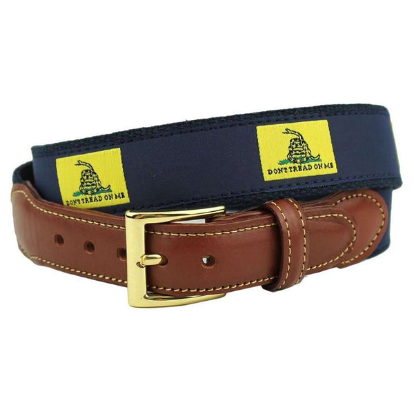 Don't Tread On Me Leather Tab Belt in Yellow on Navy Canvas by Country Club Prep