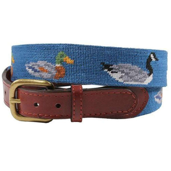 Duck Duck Goose Needlepoint Belt in Blueberry by Smathers & Branson