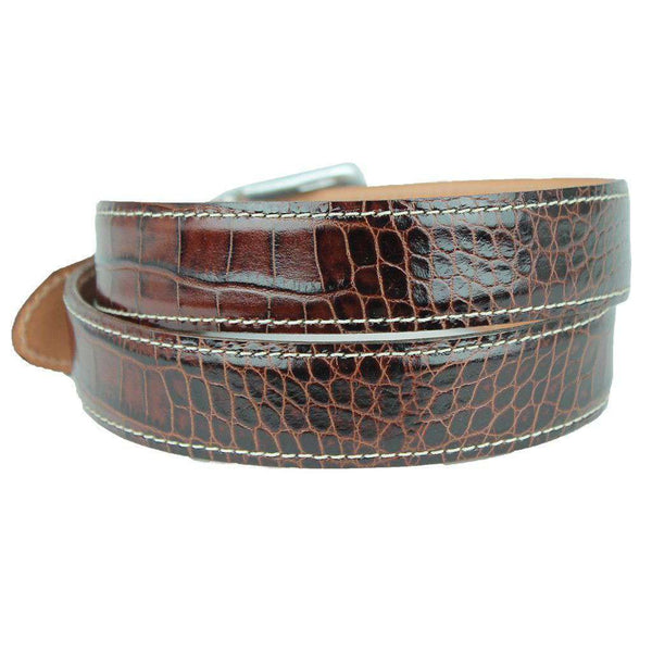 El Paso Crocodile Leather Belt in Briar Brown by T.B. Phelps