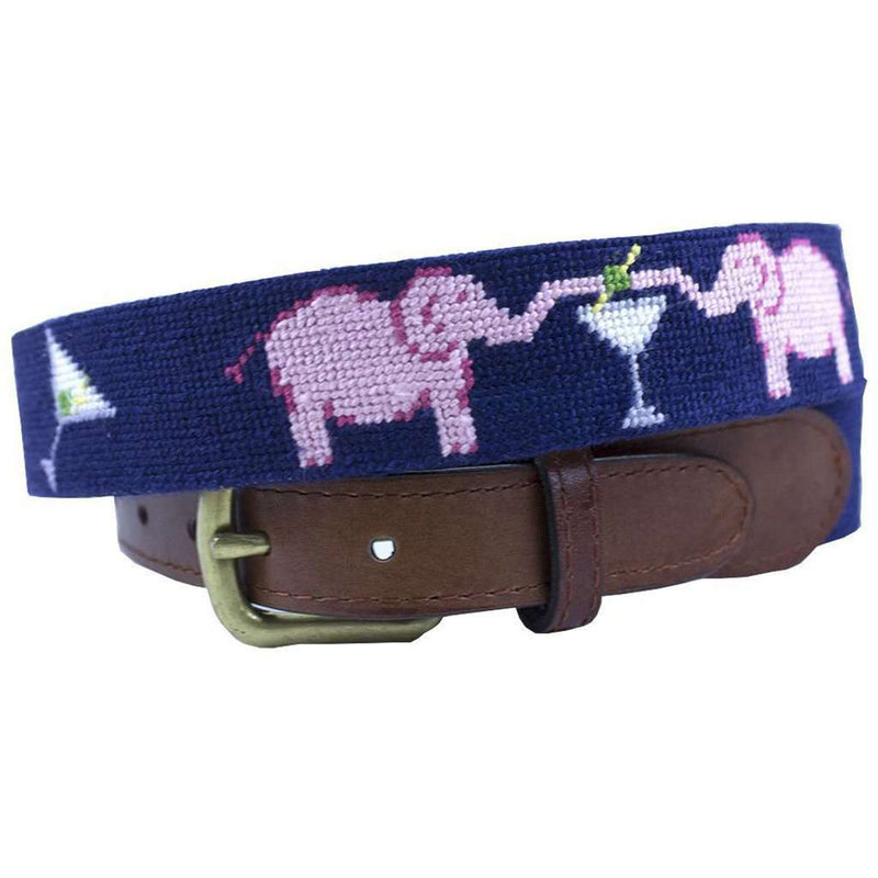 Elephant Martini Needlepoint Belt in Navy by Smathers & Branson