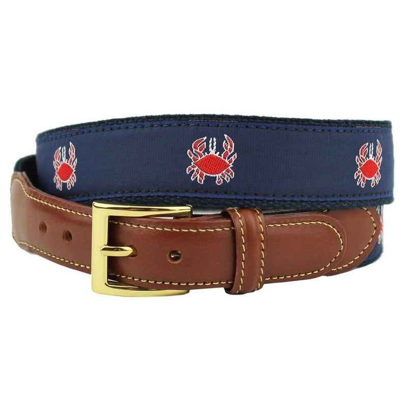 Feeling Crabby Leather Tab Belt in Navy on Navy Canvas by Country Club Prep