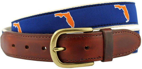 Men's Belts - FL Gainesville Gameday Leather Tab Belt In Blue Ribbon With White Canvas Backing By State Traditions