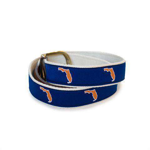 FL Gainesville Gameday Leather Tab Belt in Blue Ribbon with White Canvas Backing by State Traditions - Country Club Prep