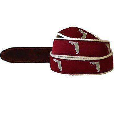 Men's Belts - FL Tallahassee Leather Tab Belt In Garnet Ribbon With White Canvas Backing By State Traditions