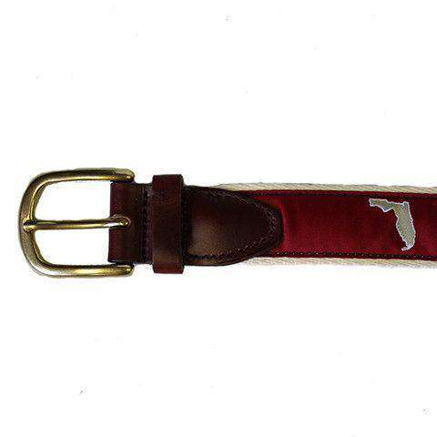 FL Tallahassee Leather Tab Belt in Garnet Ribbon with White Canvas Backing by State Traditions