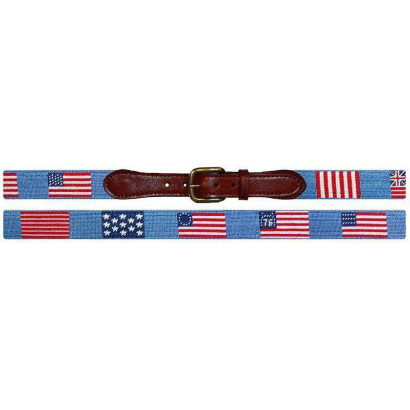 Flags of our Fathers Needlepoint Belt in Antigua Blue by Smathers & Branson