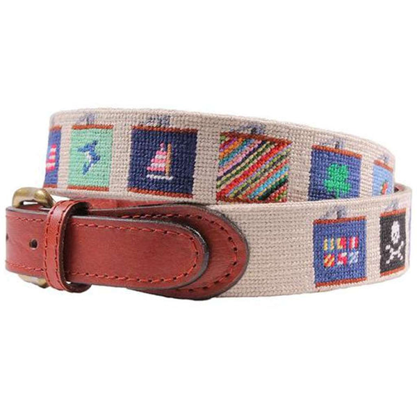 Flasks Needlepoint Belt in Khaki by Smathers & Branson