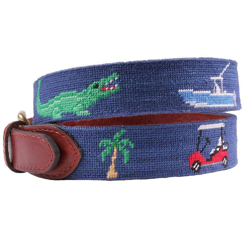 Florida Life Needlepoint Belt in Classic Navy by Smathers & Branson