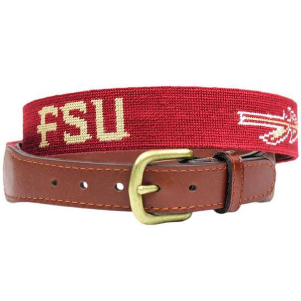 Florida State Needlepoint Belt in Garnet by Smathers & Branson