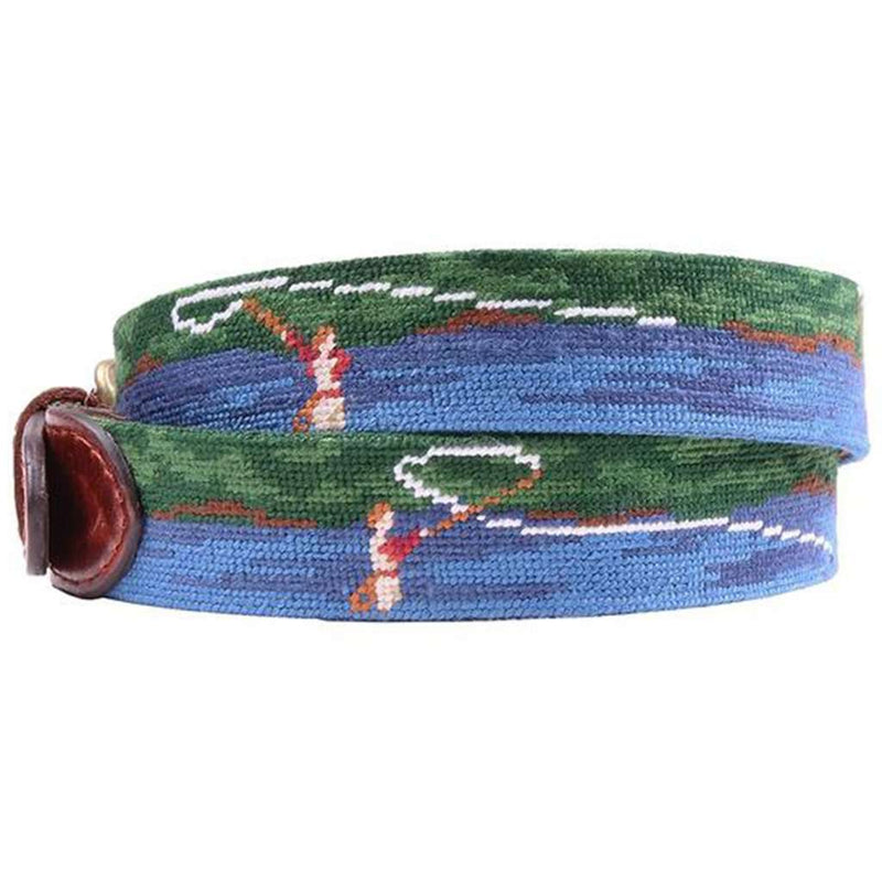 Fly Fishing Scene Needlepoint Belt by Smathers & Branson