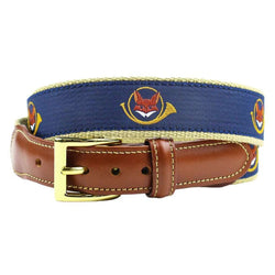 Fox and Horn Leather Tab Belt in Navy on Khaki Canvas by Country Club Prep