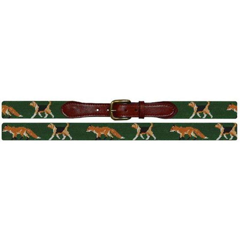 Fox and Hound Needlepoint Belt in Forest Green by Smathers & Branson