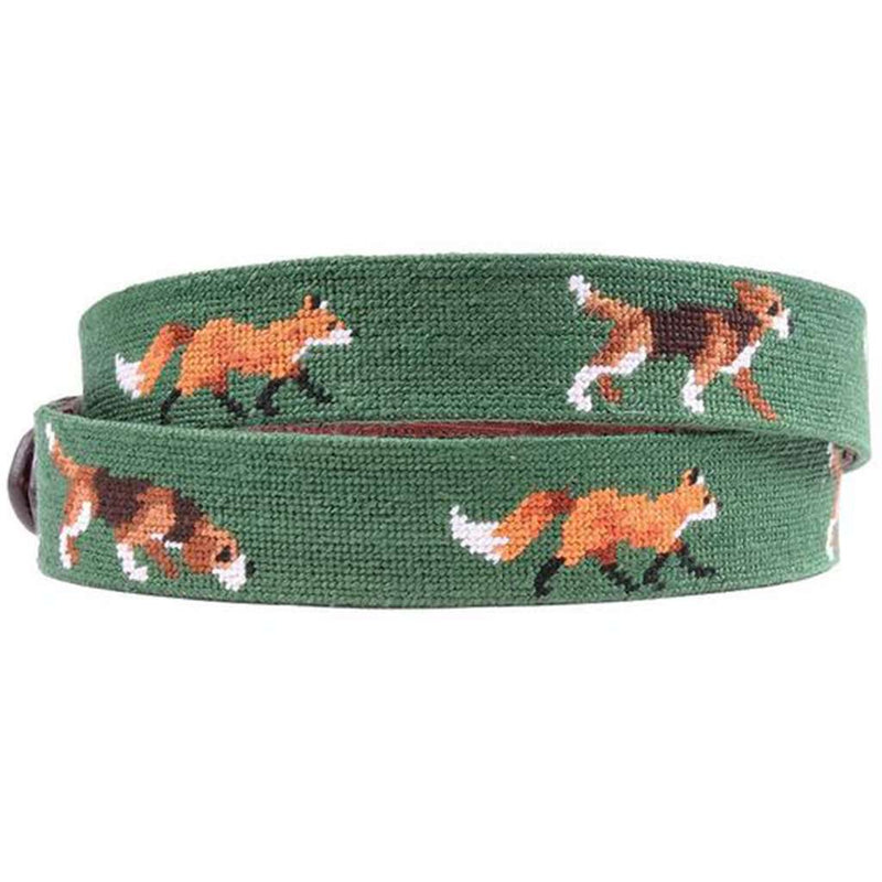 Fox and Hound Needlepoint Belt in Hunter Green by Smathers & Branson