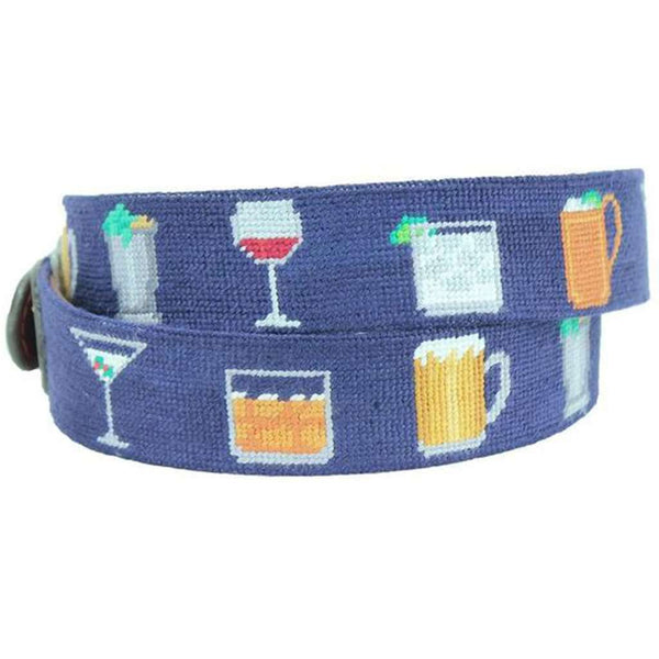 Gentlemen's Drinks Needlepoint Belt in Dark Navy by Smathers & Branson
