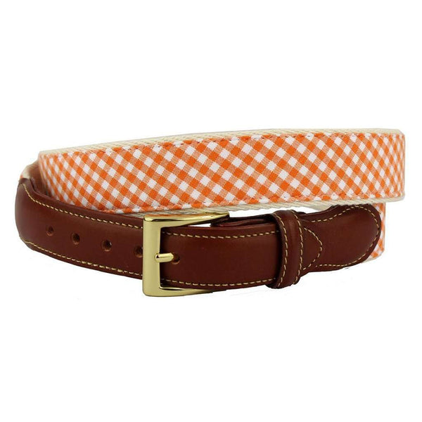 Gingham Leather Tab Belt in Orange by Country Club Prep