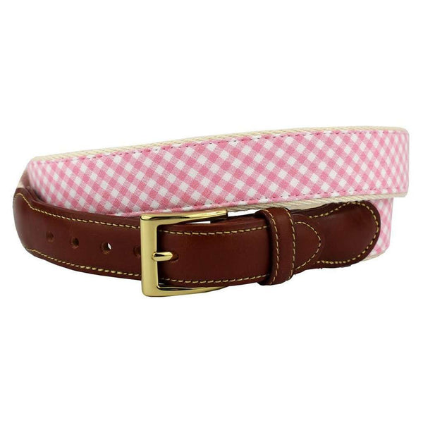 Gingham Leather Tab Belt in Pink by Country Club Prep