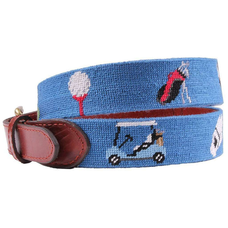 Golfer's Life Needlepoint Belt in Blue by Smathers & Branson