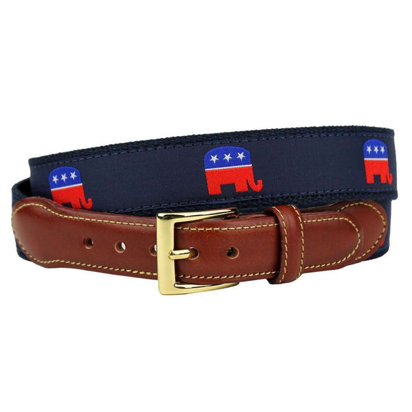 GOP Elephant Leather Tab Belt in Navy on Navy Canvas by Country Club Prep