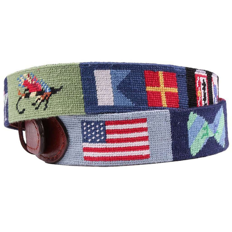 Greatest Hits Needlepoint Belt in Navy by Smathers & Branson