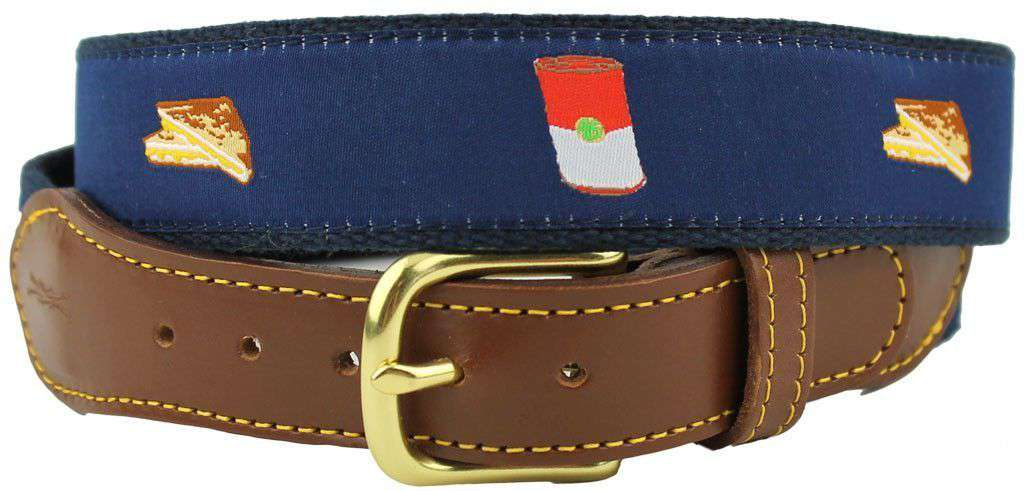Men's Belts - Grilled Cheese Leather Tab Belt In Navy By Knot Belt Co. - FINAL SALE