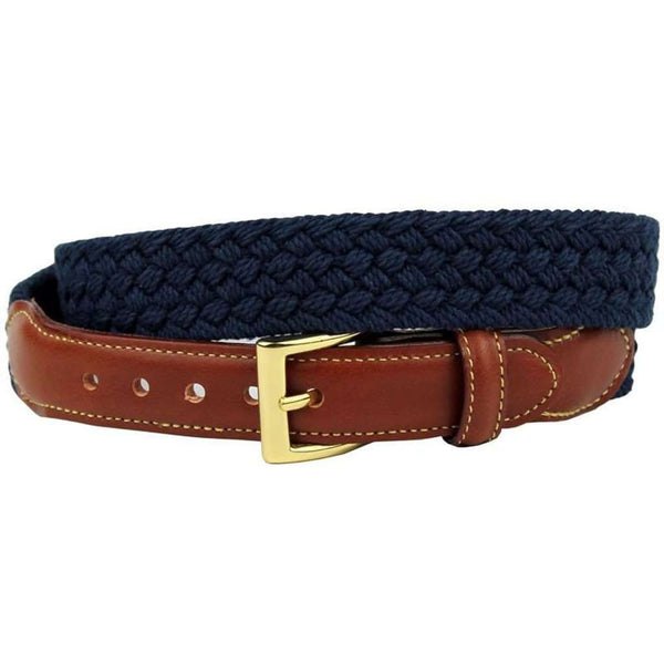 Men's Belts - Hall & Oates Woven Cotton Leather Tab Belt In Navy By Country Club Prep