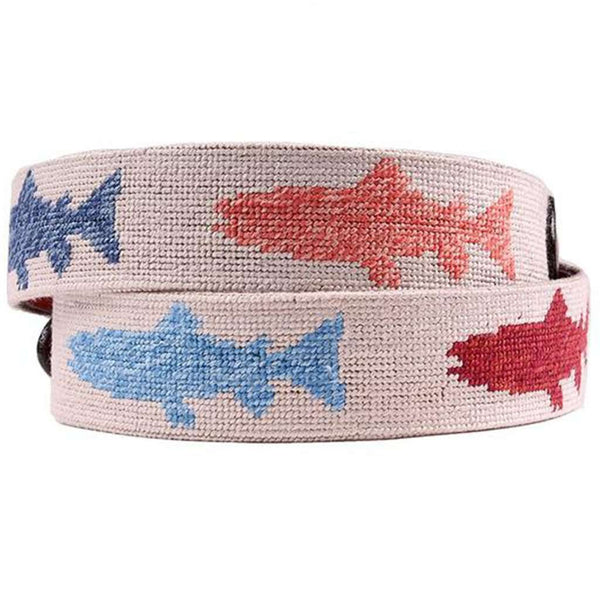 Heathered Rainbow Trout Needlepoint Belt in Khaki by Smathers & Branson