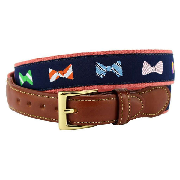 How Do You Tie Bow Ties Leather Tab Belt in Navy on Nantucket Red Canvas by Country Club Prep