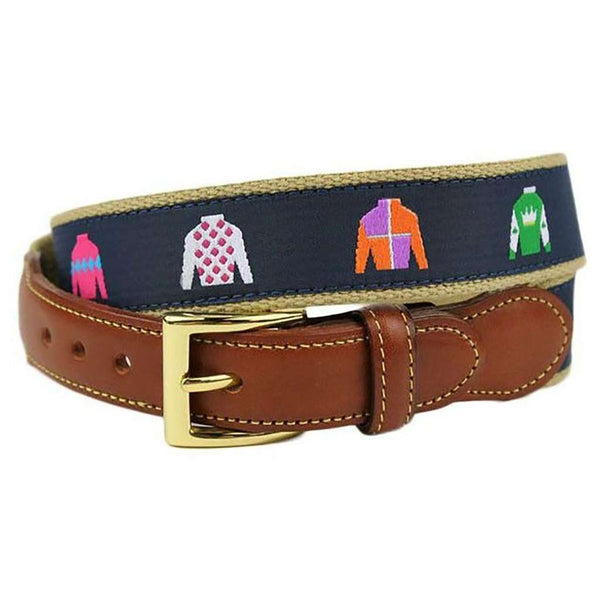 Jockey Jam Leather Tab Belt in Navy by Country Club Prep