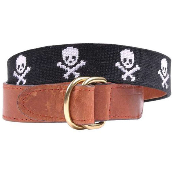 Jolly Roger Needlepoint D-Ring Belt in Black by Smathers & Branson