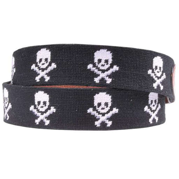 Smathers and Branson Jolly Roger Needlepoint D-Ring Belt in Black by Smathers & Branson