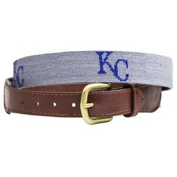 Kansas City Royals Cooperstown Needlepoint Belt in Grey by Smathers & Branson