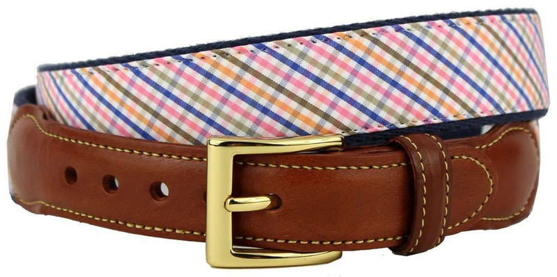 Men's Belts - Keswick Tattersall Leather Tab Belt In MultiColor On Navy Canvas By Country Club Prep