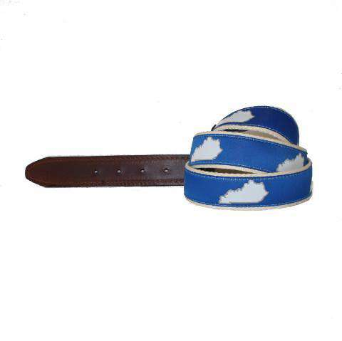 Men's Belts - KY Lexington Gameday Leather Tab Belt In Blue Ribbon With White Canvas Backing By State Traditions
