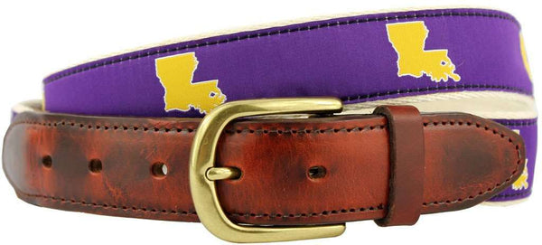 Men's Belts - LA Baton Rouge Gameday Leather Tab Belt In Purple Ribbon W/ White Canvas Backing By State Traditions
