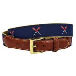 Lacrosse Leather Tab Belt in Navy on Khaki Canvas by Country Club Prep