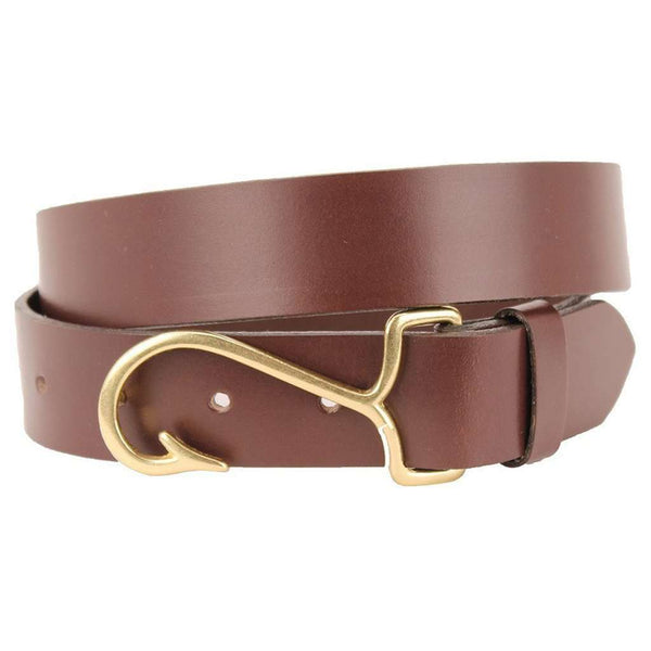 9d979ab9b5 ... Leather Belt in Dark Brown with Brass Fish Hook Buckle by Country Club  Prep