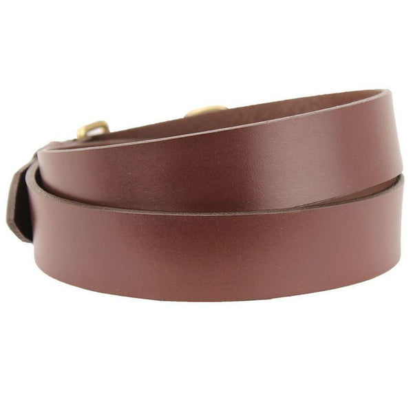 Leather Belt in Dark Brown with Brass Fish Hook Buckle by Country Club Prep