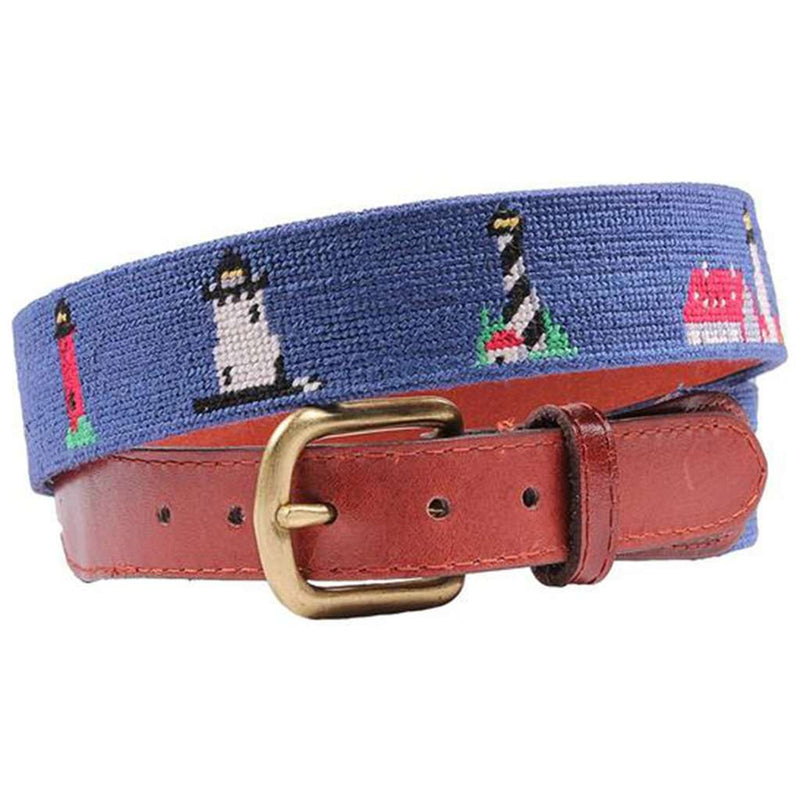 Lighthouses Needlepoint Belt in Blue by Smathers & Branson