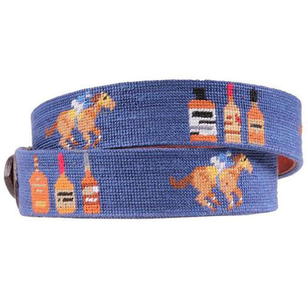 Limited Edition Bourbon Race Horse Needlepoint Belt in Classic Navy by Smathers & Branson