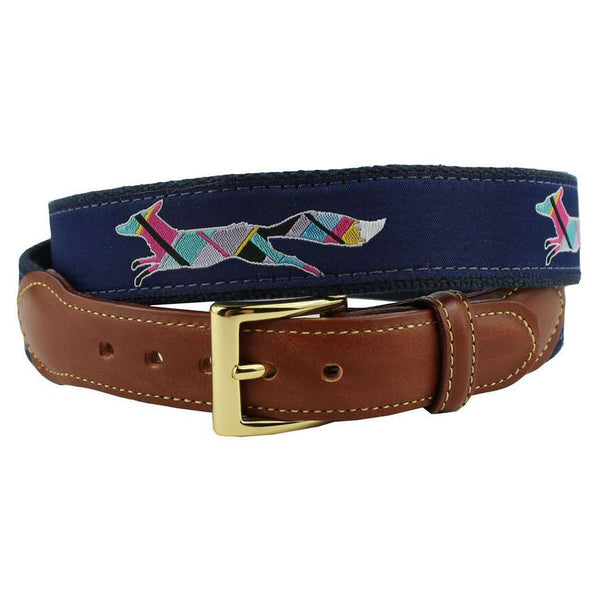 Limited Edition Longshanks the Fox Ribbon Belt in Navy by Country Club Prep
