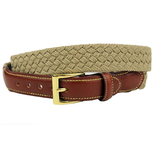 Men's Belts - Loggins & Messina Woven Cotton Leather Tab Belt In Khaki By Country Club Prep