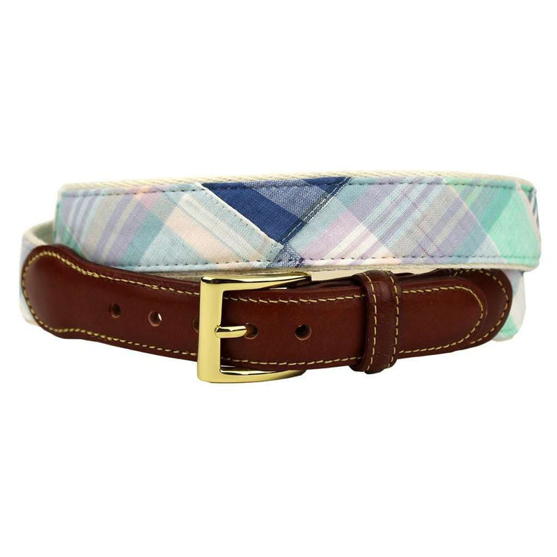 Longshanks's Choice Leather Tab Belt in Pastel Madras by Country Club Prep
