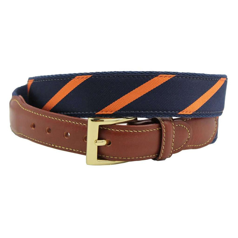 Looks Good on You, Though! Leather Tab Belt in Navy and Orange by Country Club Prep