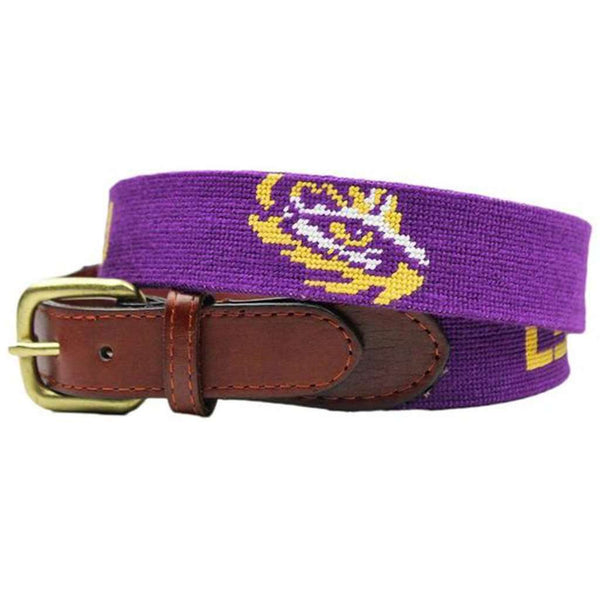 LSU Needlepoint Belt in Purple by Smathers & Branson