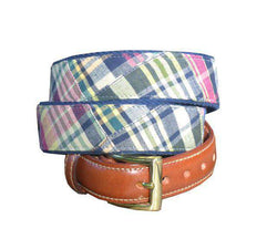 Men's Belts - Madras Plaid Leather Belt In Montauk By Just Madras