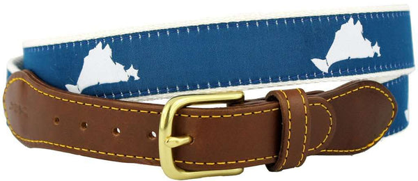 Men's Belts - Martha's Vineyard Leather Tab Belt In Navy Ribbon With White Canvas Backing By Knot Belt Co. - FINAL SALE