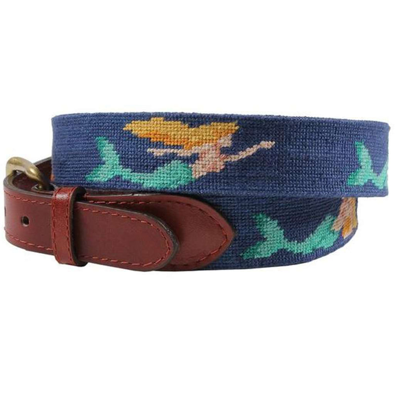Mermaid Needlepoint Belt in Classic Navy by Smathers & Branson